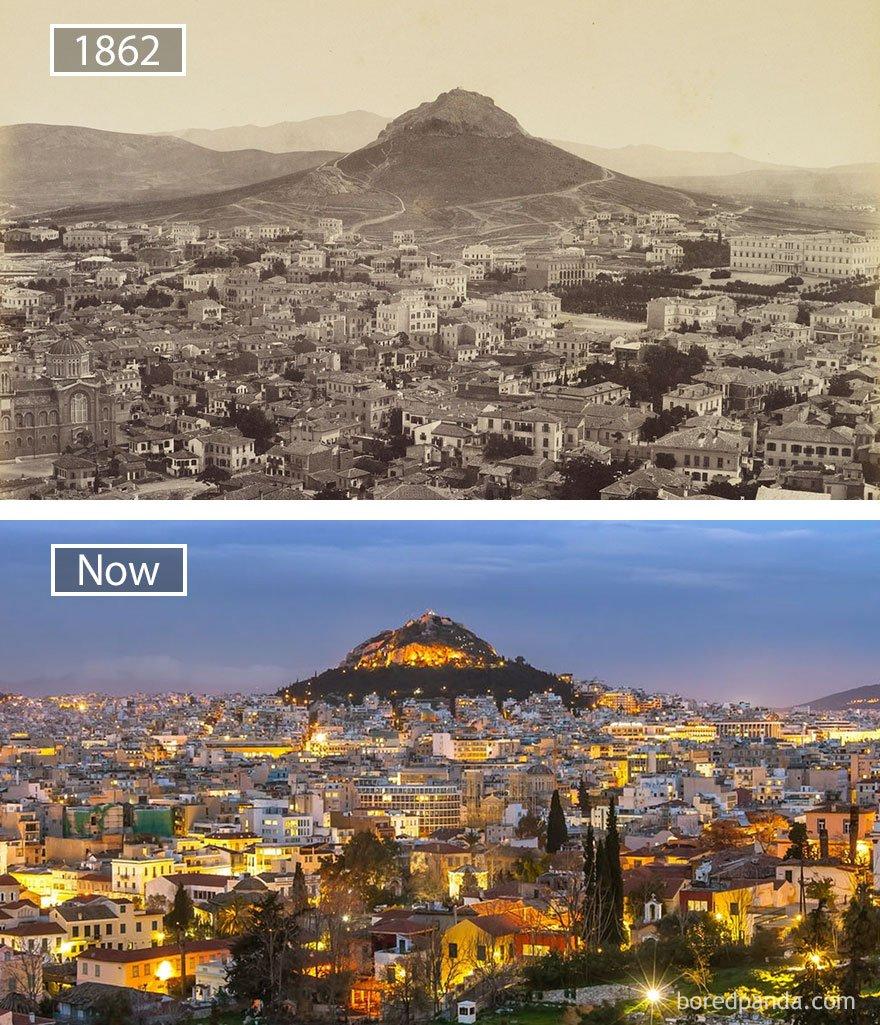 아테네, 그리스 - 1862 그리고 지금