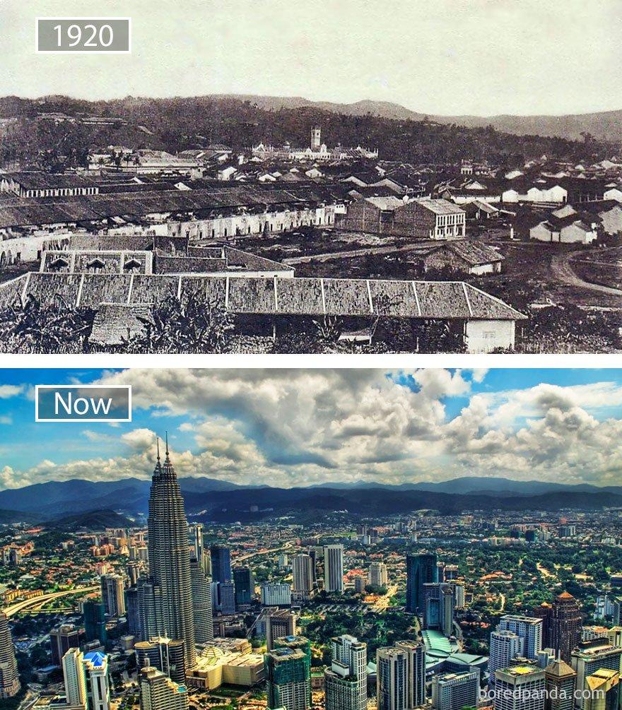 쿠알라 룸푸르, 말레이시아 -1920 그리고 지금