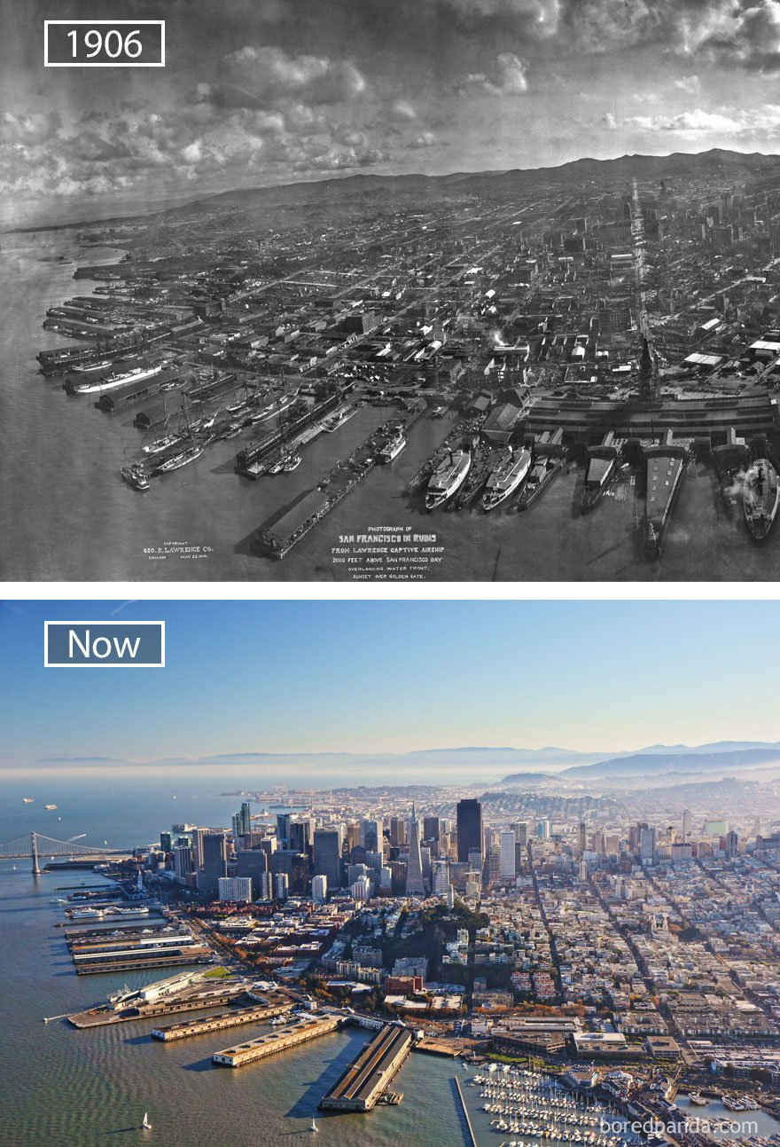 샌프란시스코, 미국 - 1906 그리고 지금