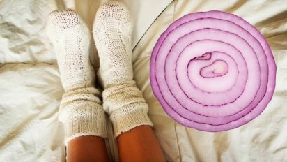 socks onions 412x232.jpg?resize=412,232 - Sleeping with Onions in His Socks? You'll NEVER Guess Why!