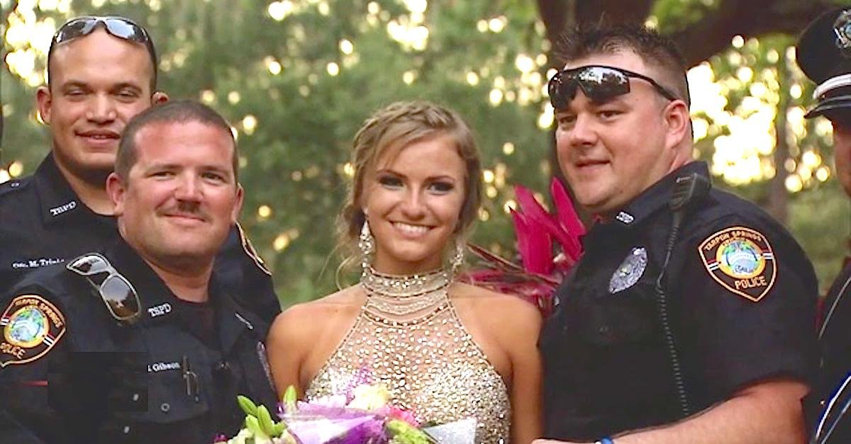 cops escort - Teen Loses Policeman Father, Mom Surprises Her With Heartwarming Escort To Prom