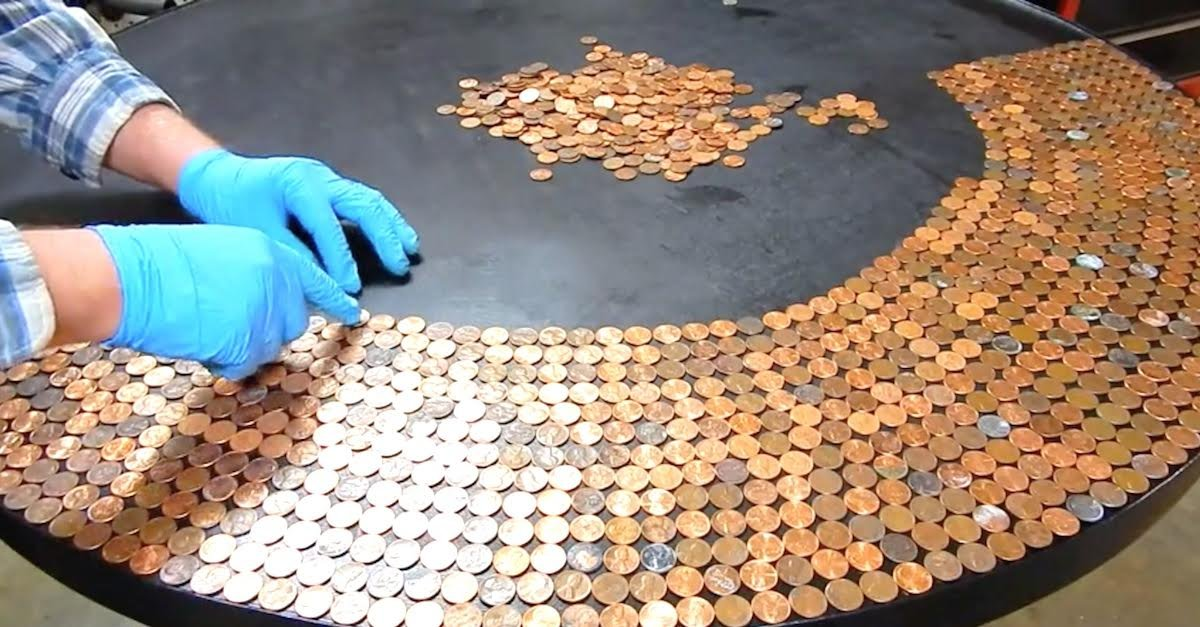 featured image.jpeg?resize=1200,630 - Man Turned His Table Into A Work Of Art After Adding Pennies On Top Of It