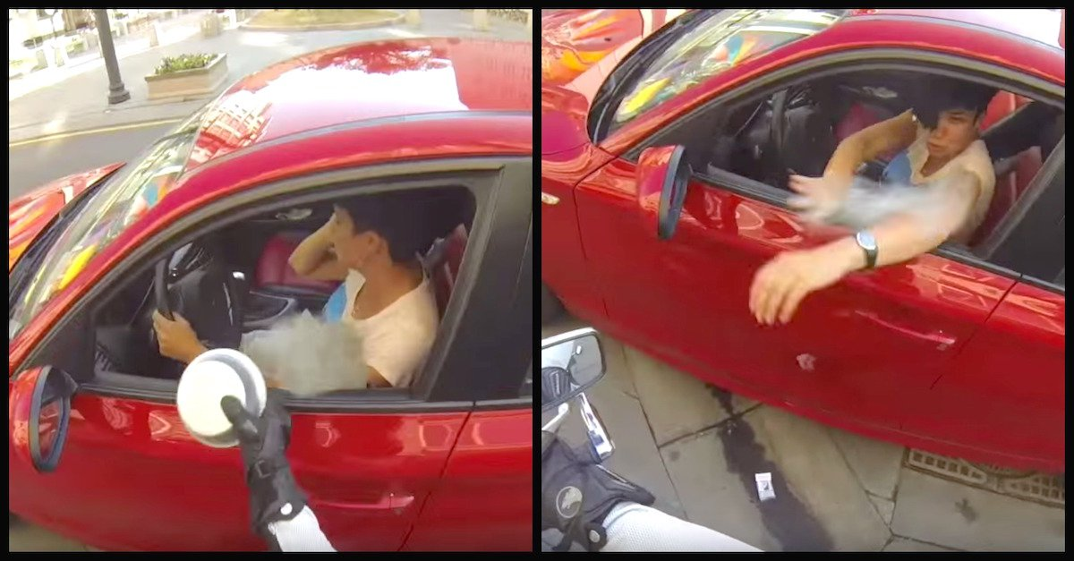 litter - Selfish Litterbug Throws Trash Out The Window, Then A Biker Teaches Her A Lesson