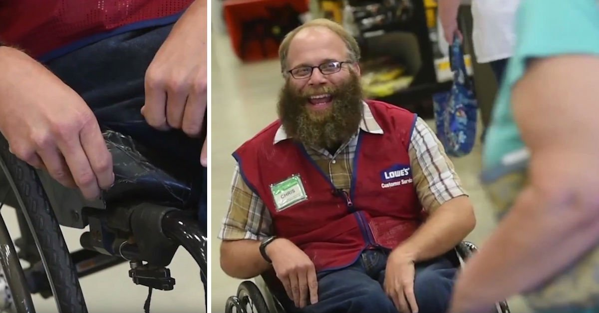 lowes4p.jpg?resize=300,169 - Lowe's Greeter On Wheelchair Gets A Huge Gift From His Co-workers