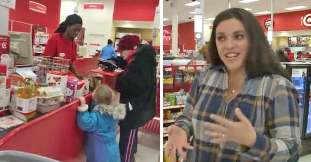 target cashier 1.jpg?resize=1200,630 - Elderly Woman Pays In Change And Holds Up The Line, Then A Woman Behind Wrote A Note To A Cashier