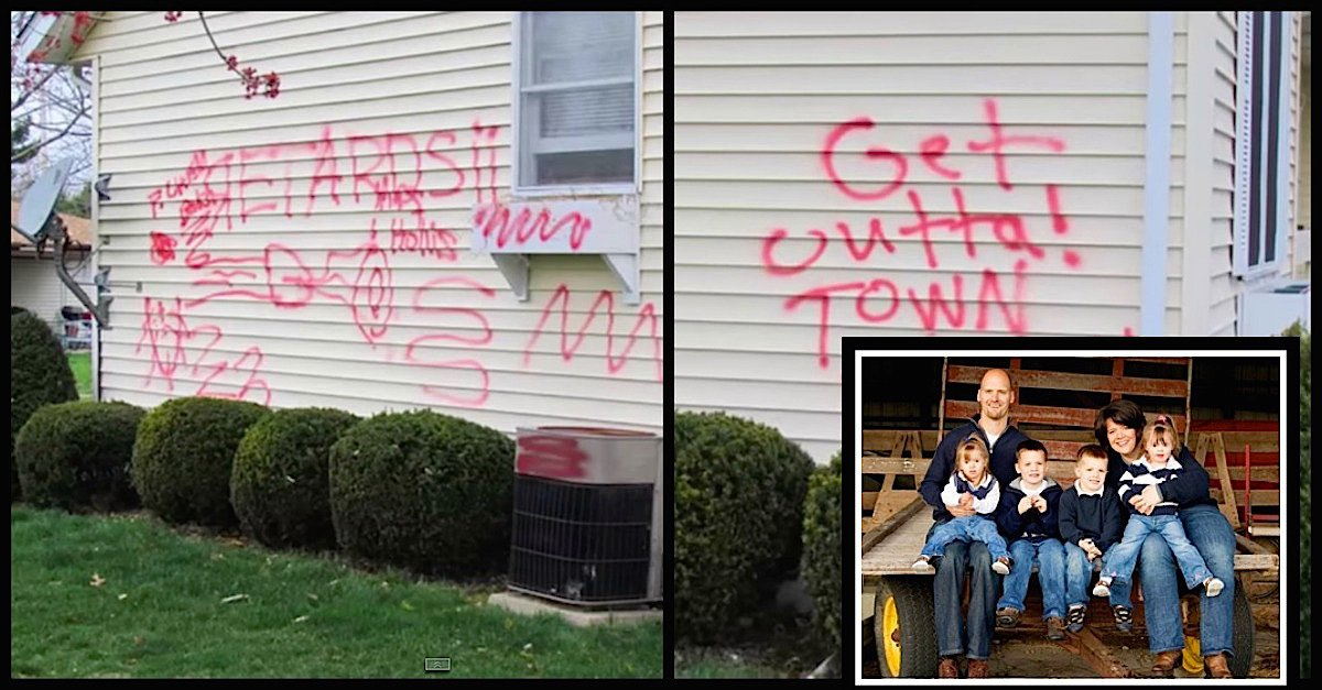 hollis.jpg?resize=412,275 - Vile Thugs Spray-Painted Hate Graffiti All Over Couple's House After They Adopted Two Sisters