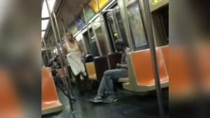 stranger gives shirt to homeless 300x169.jpg?resize=300,169 - Modern Day Good Samaritan Takes His Shirt Off On The Subway For THIS Reason.. Inspiring!