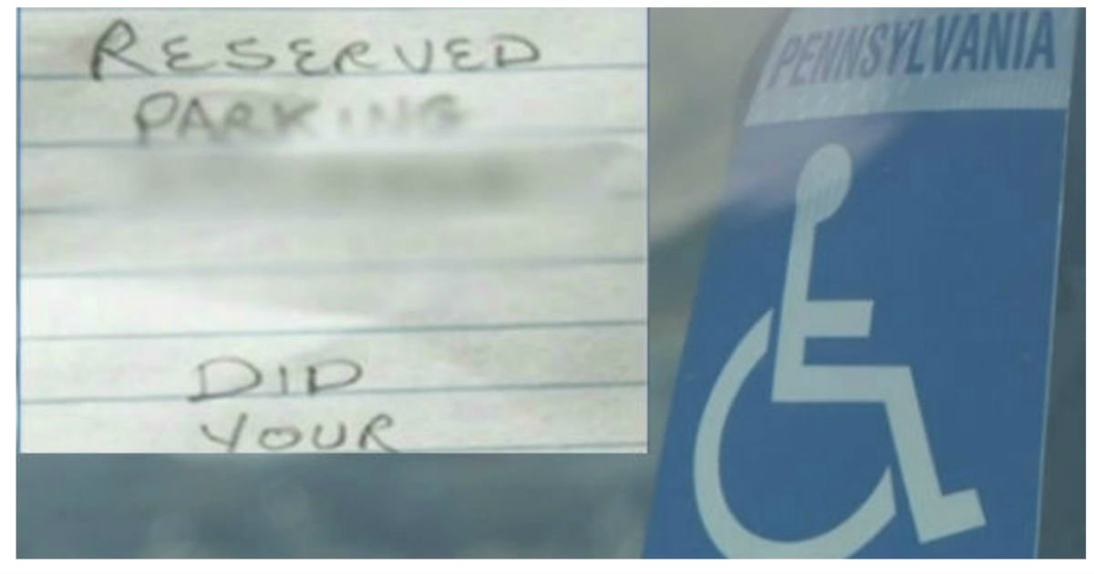 cover handicapped.jpg?resize=1200,630 - Mother Of Disabled Son Devastated After Stranger Left Cruel Note On Their Car
