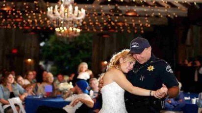 officers dance bride wedding 412x232.jpg?resize=412,232 - Bride Dedicated Front Seat To Her Late Father During Her Wedding Ceremony