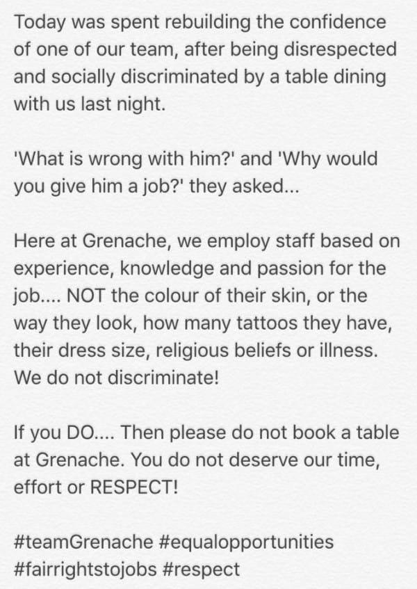 Facebook / Grenache Restaurant
