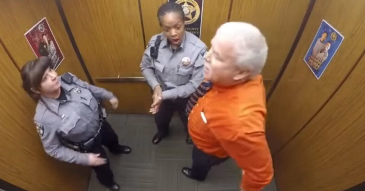 sheriff deputy dance party 1.jpg?resize=1200,630 - 'Highly Professional' Sheriff Finally Let Go And Danced In Elevator When It Was Time For His Retirement