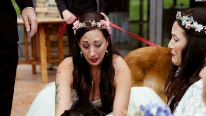 bride cries dying dog cover 412x232.jpg?resize=412,232 - Bride Walked Down The Aisle And Broke Down In Tears After Seeing Her Dog