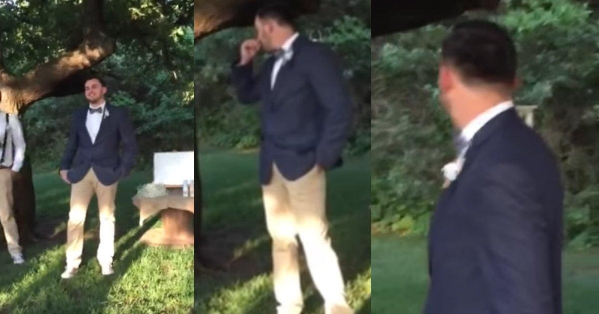 groom cries at wedding.jpg?resize=1200,630 - Groom Showed Heartwarming Reaction As He Watched His Beautiful Bride