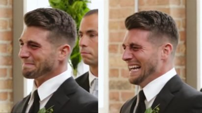 groom cries on wedding 412x232.jpg?resize=412,232 - Groom Burst Into Tears As Bride Waked Down The Aisle In Emotional Ceremony