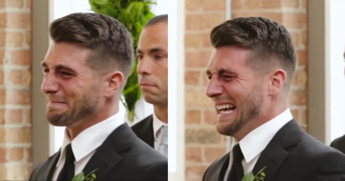 groom cries on wedding.jpg?resize=1200,630 - Groom Burst Into Tears As Bride Waked Down The Aisle In Emotional Ceremony