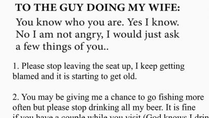 husband lover letter cheating wife 2 412x232.jpg?resize=412,232 - Husband Discovered Wife Was Cheating So He Wrote A Long Letter To Her Lover