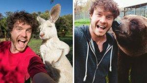 sans titre 2 3 300x169 - Cet homme est devenu expert en … selfies avec des animaux !