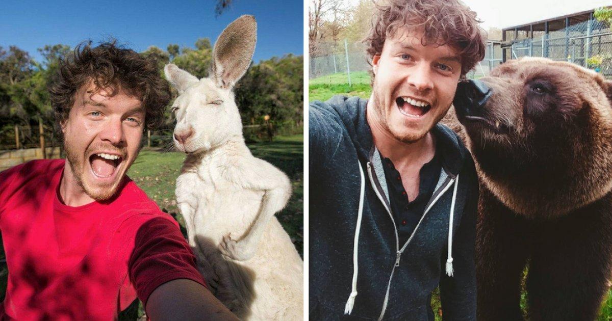 sans titre 2 3.png?resize=1200,630 - Cet homme est devenu expert en … selfies avec des animaux !