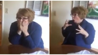 surprise mom freaks out cover 412x232.jpg?resize=412,232 - Daughter Surprised Parents With A Gift To Tell Them They Were Going To Be Grandparents