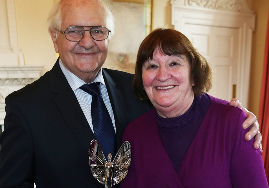 Terry and Anne posing with their award. Image via Pride Of Britain
