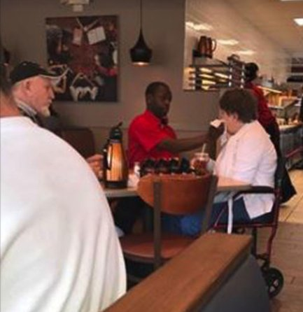 cbs 8 - She Sees IHOP Server Take Away Disabled Woman's Fork.. What He Does Next Inspires Her!