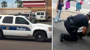 cop shoes to homeless 300x169.png?resize=300,169 - Cop Responds To A Disturbance Call, Arrives On Scene And What He Sees Has Him Drop Down To His Knees