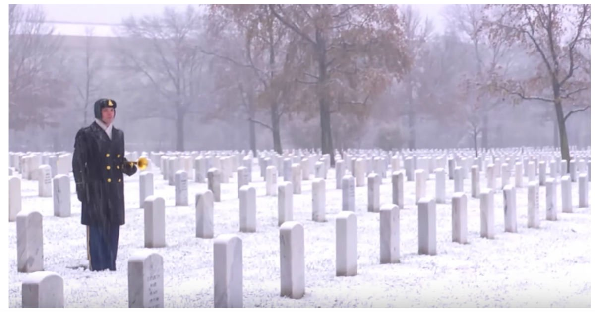 taps soldier cover idea - He Stands Alone In Snowy Winter, But Take A Look At What He's Holding.. Incredible!
