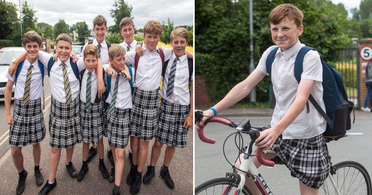 3 - '폭염'에도 반바지 못 입게 하자 '치마' 입고 등교한 영국 남학생들