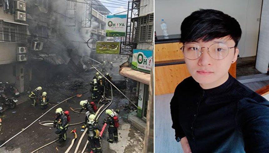 송찬양 씨가 찍은 가스 폭발 사진(좌)와 송찬양씨(우), 출처: Facebook himmsong