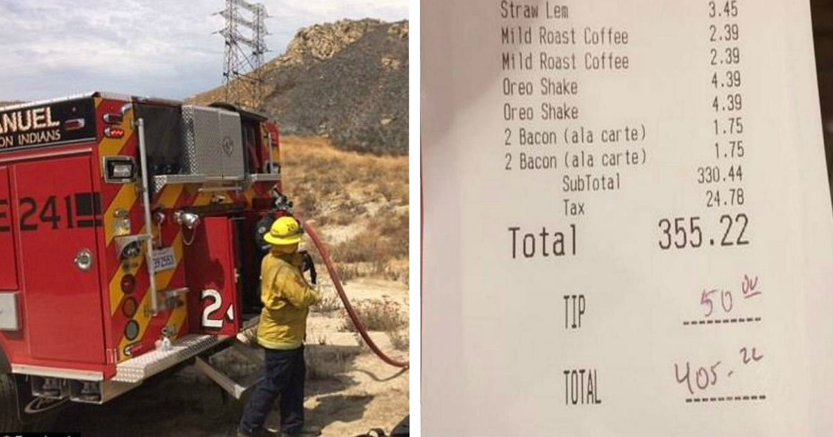 facerte.jpg?resize=1200,630 - Woman Saw Firemen Eating After Battling Blaze, Then She Secretly Paid Their Bill And Left