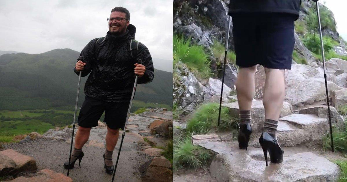 4 5.jpg?resize=412,232 - '하이힐'을 신고 가장 높은 산을 오른 영국 남학생, 그 이유는?