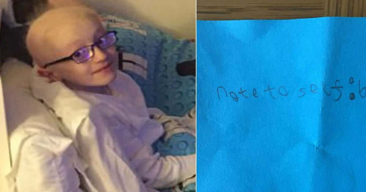 cancer boy 1 - Mom Finds A Note For Self In Her Son's Bag. As She Reads It, She Immediately Moves Into Tears