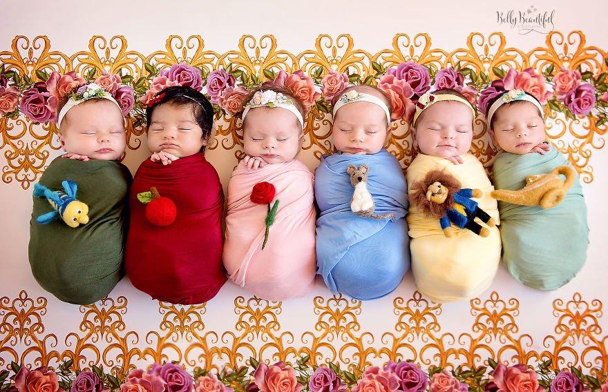 eab3b5eca3bc 1 - 디즈니 공주님으로 변신한 6명의 사랑스러운 아기들 (사진)