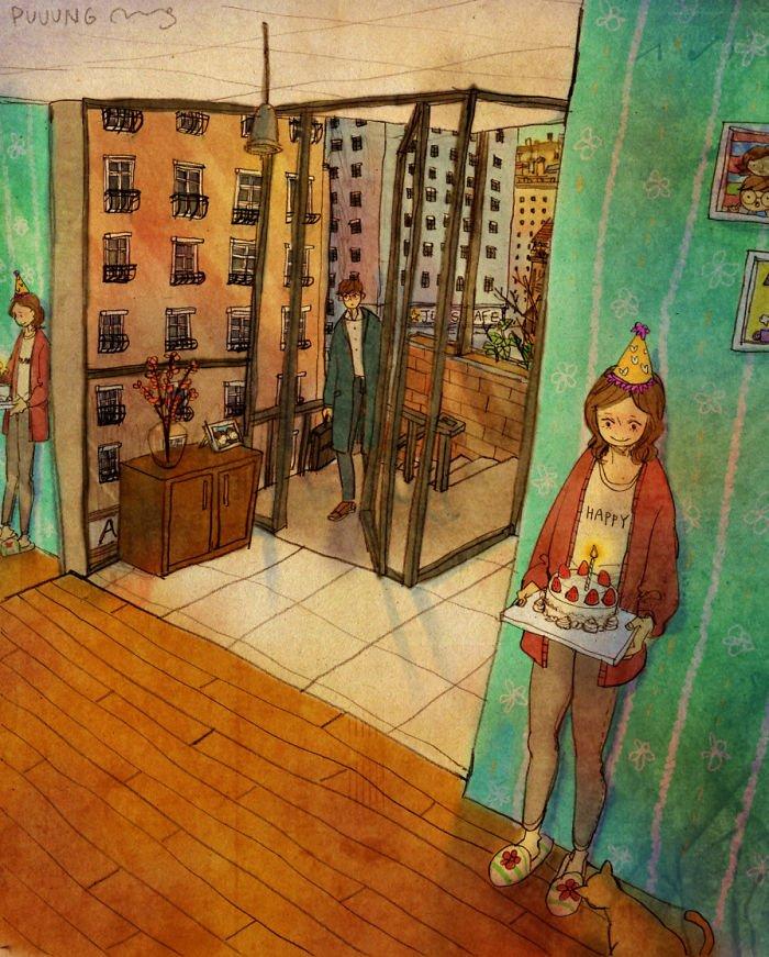 sweet couple love illustrations art puuung 16  700 - 소소한 일상 속에서 발견하는 '사랑'에 관한 일러스트 작품 (사진 23장)