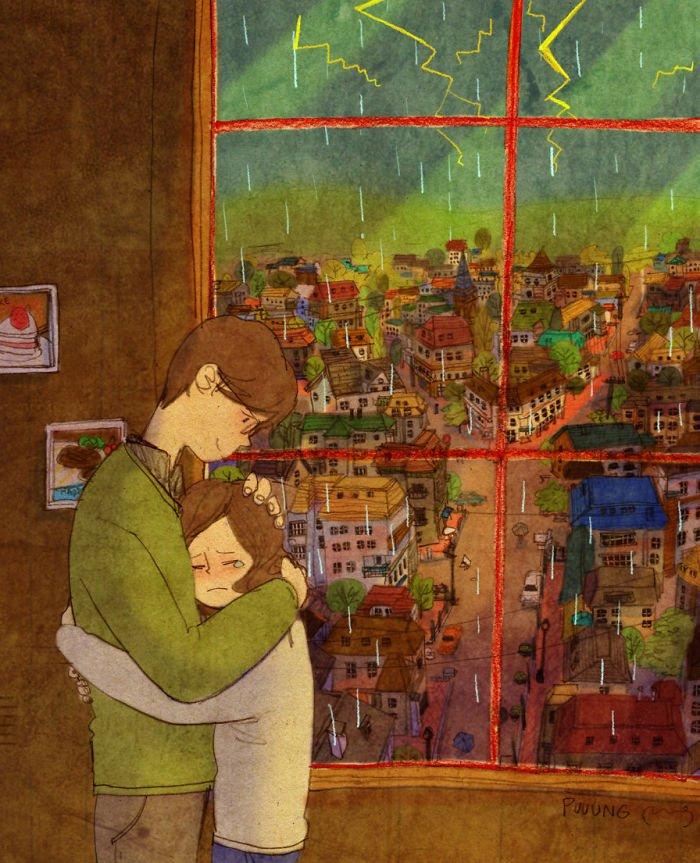 sweet couple love illustrations art puuung 1  700 - 소소한 일상 속에서 발견하는 '사랑'에 관한 일러스트 작품 (사진 23장)