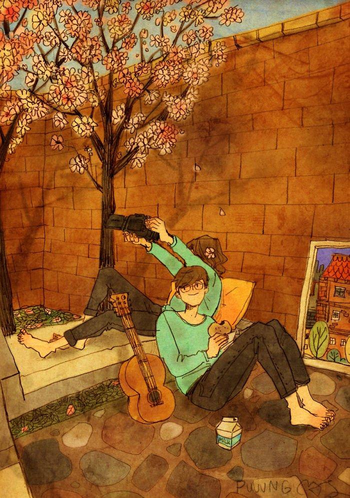 sweet couple love illustrations art puuung 34  700 - 소소한 일상 속에서 발견하는 '사랑'에 관한 일러스트 작품 (사진 23장)