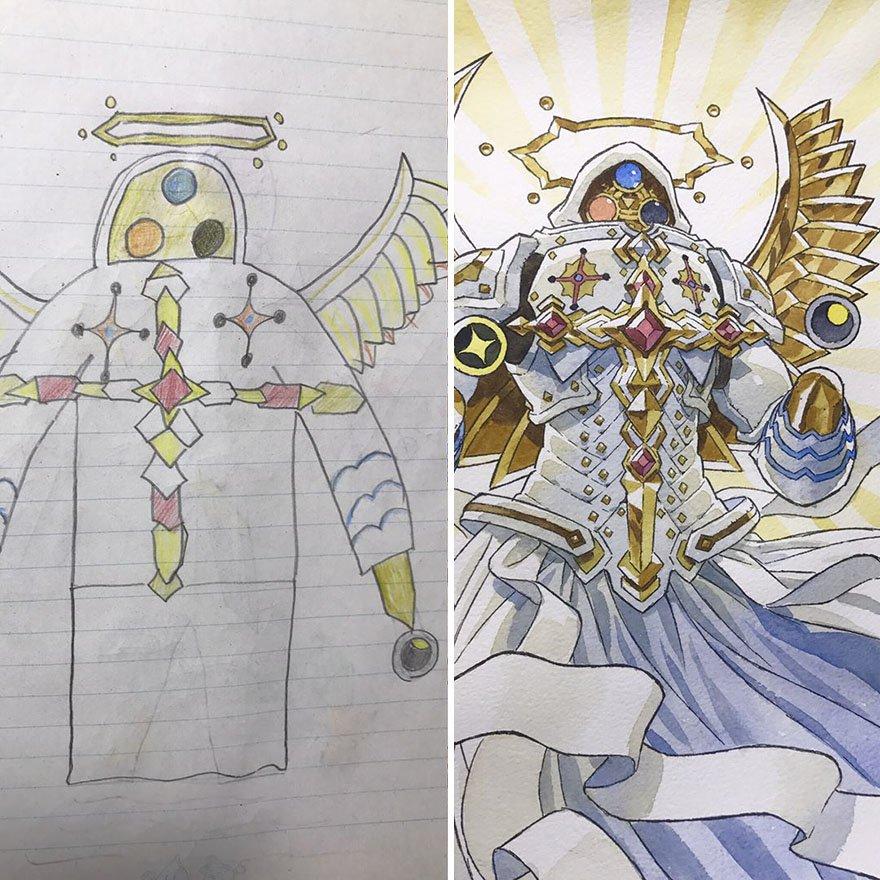 150295886356080.jpg?resize=1200,630 - 插畫家老爸把「兒子塗鴉的怪獸」重新畫一次,網友看到作品後大讚:「有神快拜!」