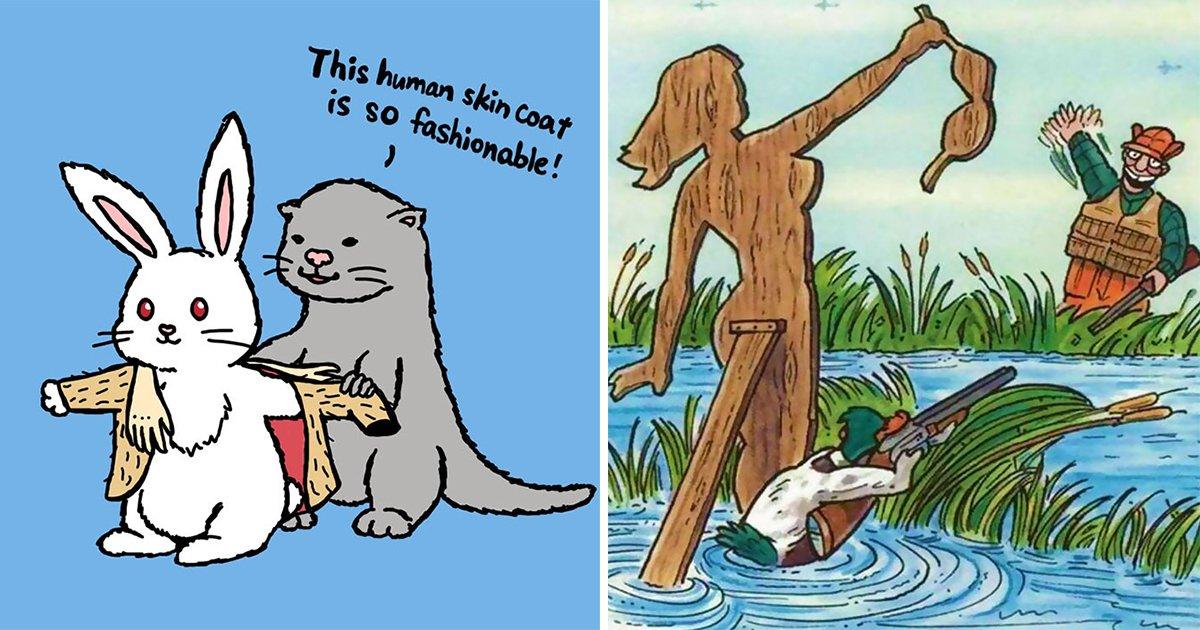 "article thumbnail 55.jpg?resize=1200,630 - ""동물이 인간을 사냥한다면?"" 동물 보호 캠페인 일러스트 15장"