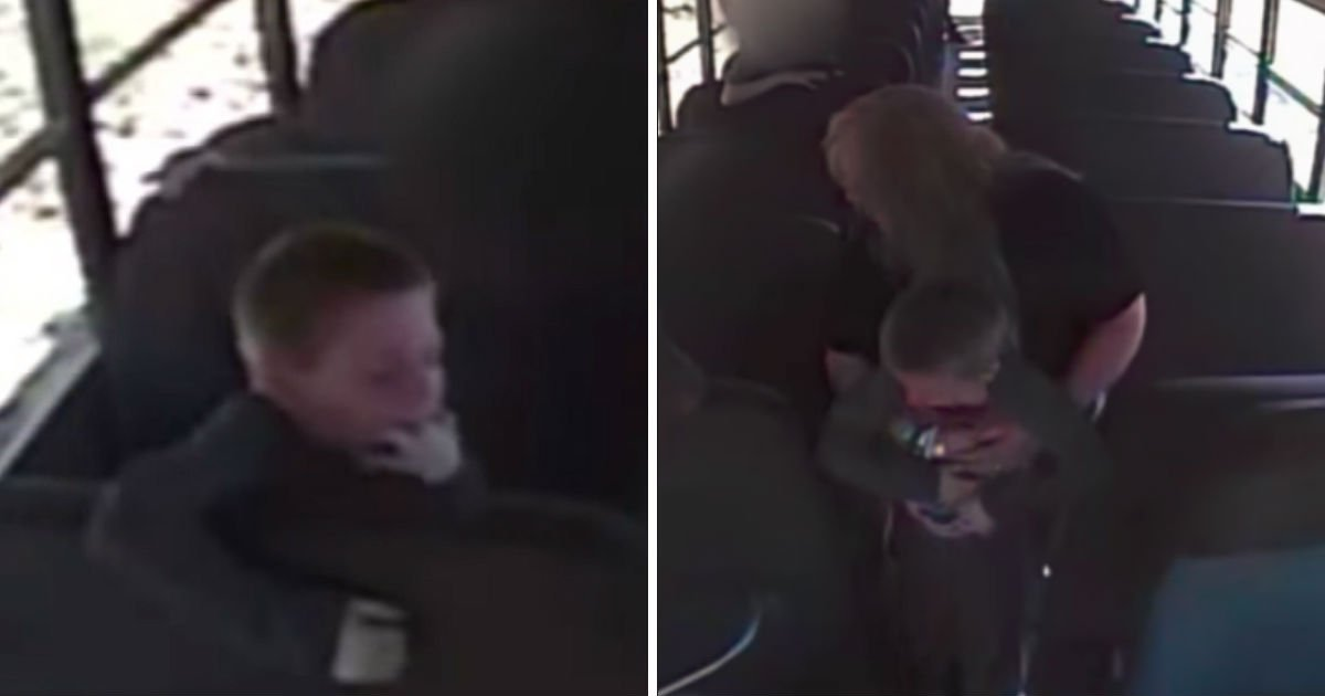 bus driver saves chocking child - Boy Chocks And Cries On The Bus. Then, Bus Cam Records The Whole Processes He Is Saved By The Driver