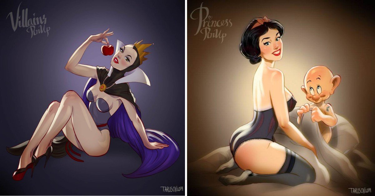 fffffdd3 - '핀업걸'로 변신한 '디즈니' 만화 속 공주와 악당 캐릭터들 (사진 19장)