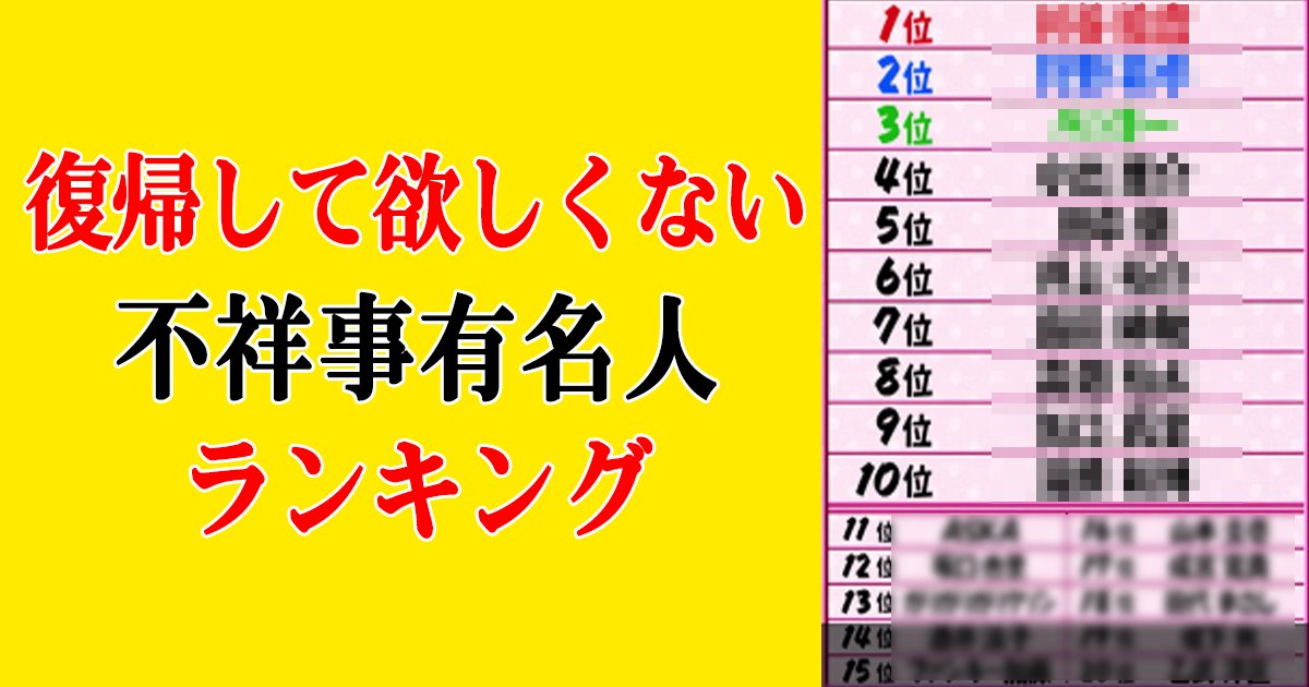 hukisuruna th.png?resize=1200,630 - 「復帰して欲しくない不祥事有名人ランキング」1位はアノ人!