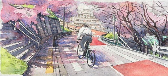 1 65 - 폴란드 작가가 수채화로 완성한 도쿄 일상 일러스트 (+25)