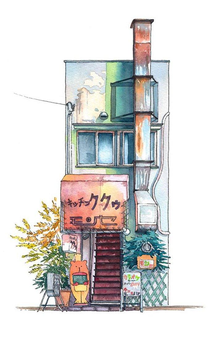 12 20 - 폴란드 작가가 수채화로 완성한 도쿄 일상 일러스트 (+25)