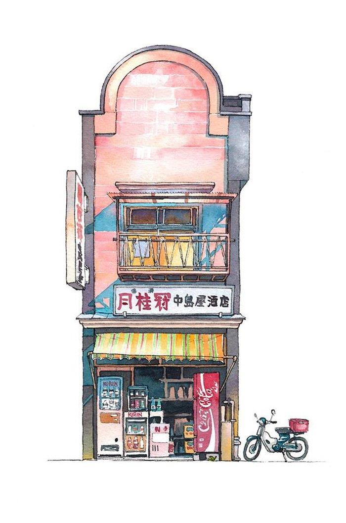 18 15 - 폴란드 작가가 수채화로 완성한 도쿄 일상 일러스트 (+25)