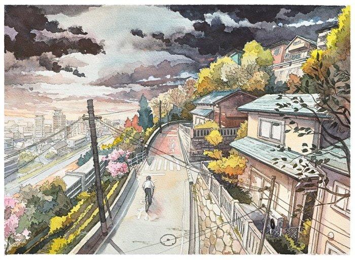 9 39 - 폴란드 작가가 수채화로 완성한 도쿄 일상 일러스트 (+25)