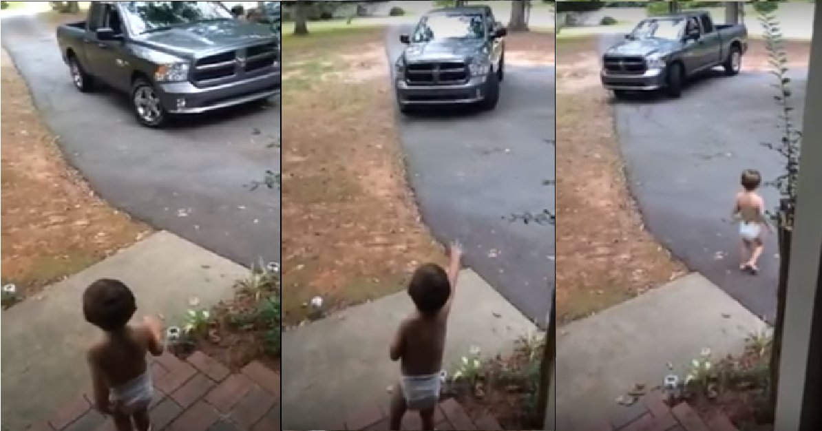"boy2 - Toddler Follows Dad As He Drives Off, Keeps Shouting ""I Love You, Daddy"""