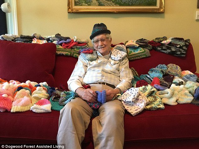 Finding his calling: Ed Moseley, 86, a retired engineer and resident of the Dogwood Forest Assisted Living community in Acworth, Georgia, has knitted over 50 caps for preemie babies