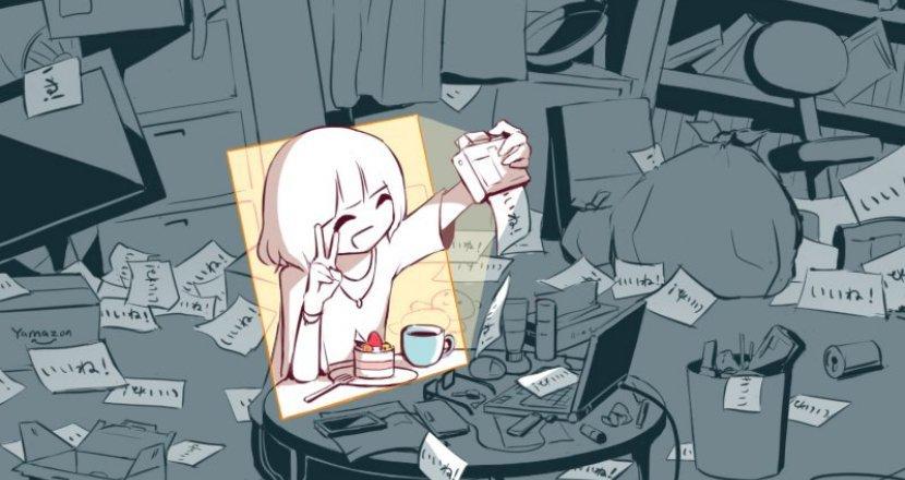 draw0.jpg?resize=1200,630 - 「事實到底是什麼?」日本插畫家作品:照片框內的愉悅 vs. 現實裏看不見的角落