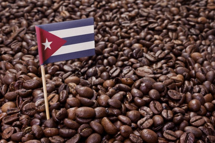 The flag of Cuba sticking in roasted coffee beans.(series)