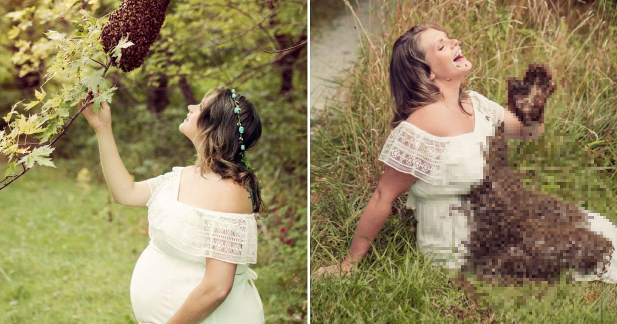 ioiho.jpg?resize=412,232 - 벌 2만마리와 함께 '임신 기념' 촬영을 한 여성 (영상)